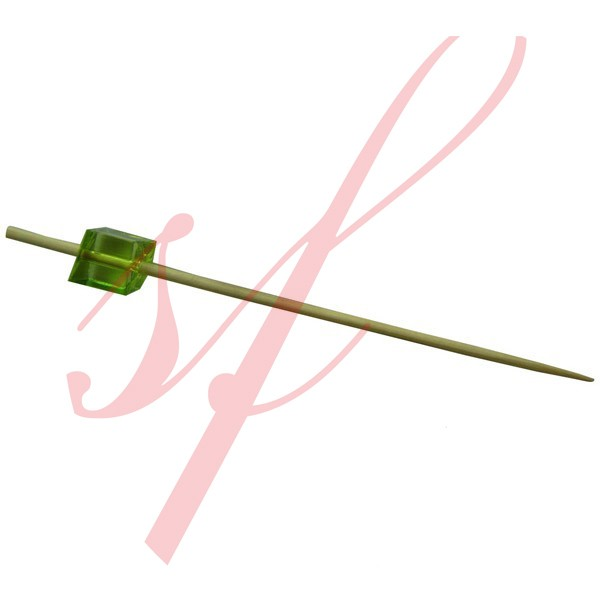 Bamboo Cube Skewer Green 3.5 in. 200/cs - $0.06/pc