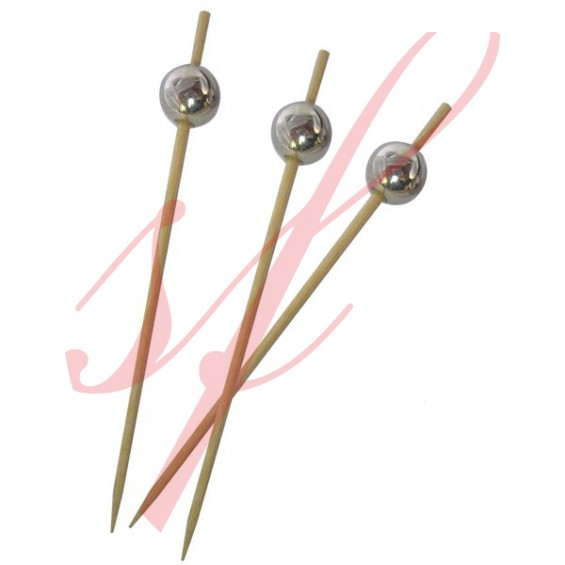 Silver Sphere Skewer 3.9 in. - 200/cs - $0.07/pc