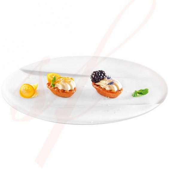 Assiette Jetable Haut de Gamme Emeraude 24 cm. Blanc - 50/cs