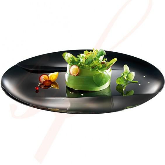 Assiette Jetable Haut de Gamme Emeraude 24 cm. Noir - 50/cs