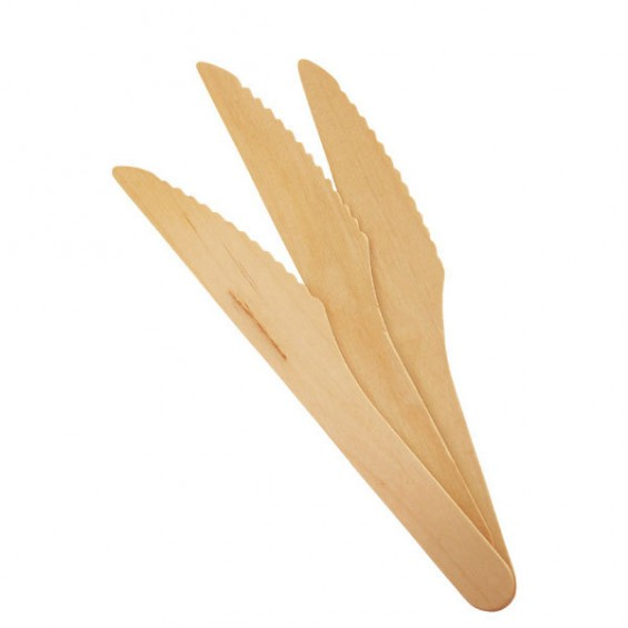 Couteau Biodegradable en Bois de Pin 16 cm. - 100/cs
