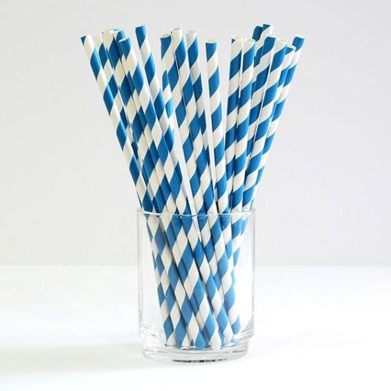 Paille Biodégradables en Papier 19 cm. - Bleu - 100/cs