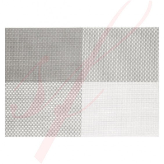 Modern White & Grey Woven Placemats - 12/cs