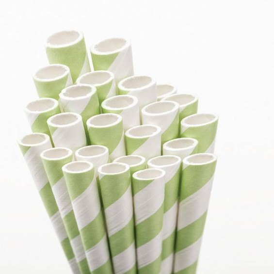 Eco Friendly Paper Straws 7.7 in. Green 100/Cs