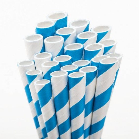 Eco Friendly Paper Straws 7.7 in. Blue 100/Cs
