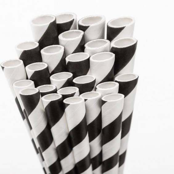 Eco Friendly Paper Straws 7.7 in. Black 100/Cs