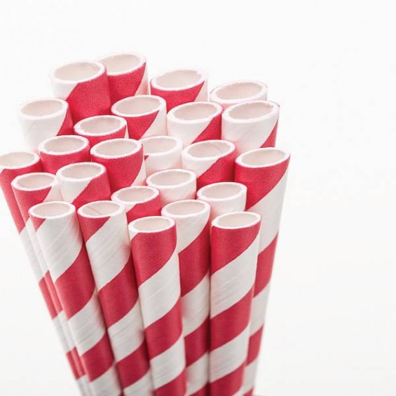 Eco Friendly Paper Straws 7.7 in. Red 100/Cs