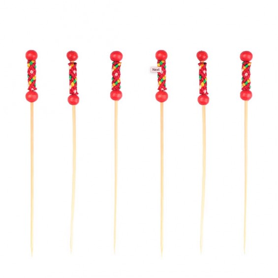 Pearl Bamboo Skewer 4.7 in. Red - 2000/cs - $0.04/pc