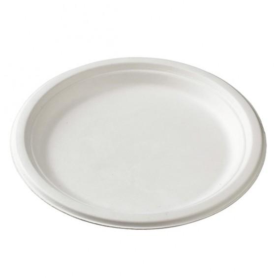 Assiette Jetable en pulp de Canne 16 cm. 100/carton.