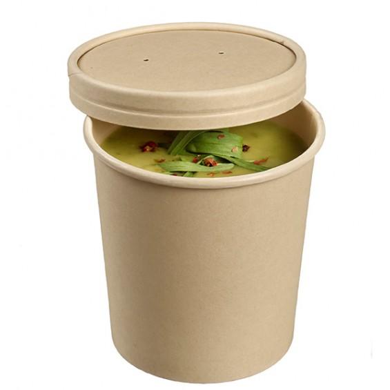 Pot en Fibre de Bambou 350 ml. et son couvercle - 25/sachet