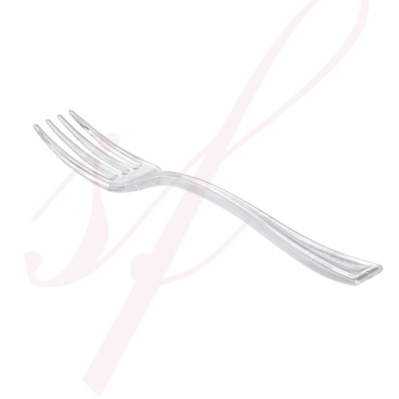 Mini Plastic Fork Clear 3.9 in. 250/cs - $0.05/pc